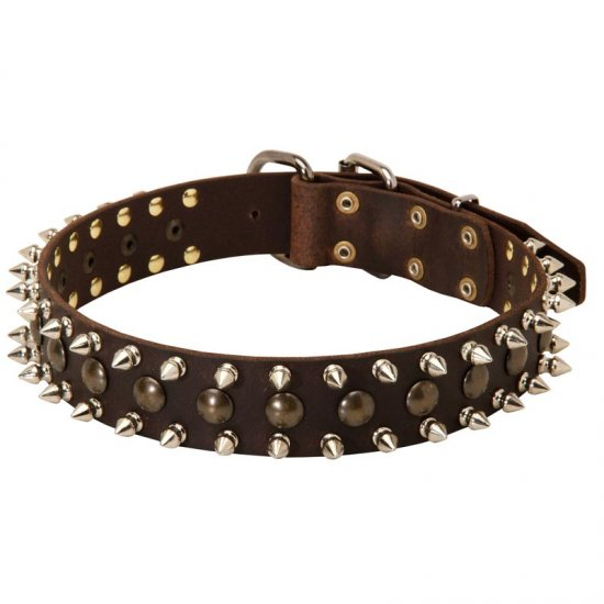3 Rows Leather Spiked and Studded American Bulldog Collar - Click Image to Close