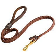 American Bulldog Leather Braided Dog Leash