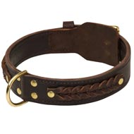 Incredible Design American Bulldog Braided Leather Collar