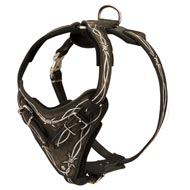 Painted Leather American Bulldog Harness for Walking and Training