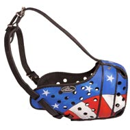 American Pride Painted Leather American Bulldog Muzzle for Protection Training