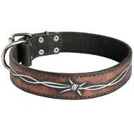 Handpainted Leather American Bulldog Collar with Barbed Wire Drawing