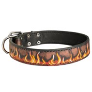 Handpainted Leather American Bulldog Collar with Red Flames