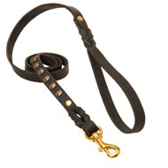 Studded Leather American Bulldog Leash for Dog Walking and Training