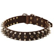 3 Rows Leather Spiked and Studded American Bulldog Collar