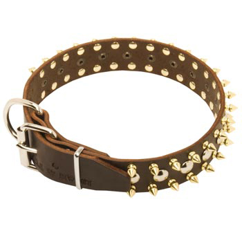 Leather American Bulldog Collar with Rust-proof Decoration