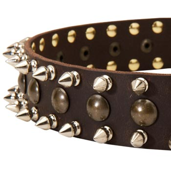American Bulldog Leather Collar with Hand Set Spikes  And Studs