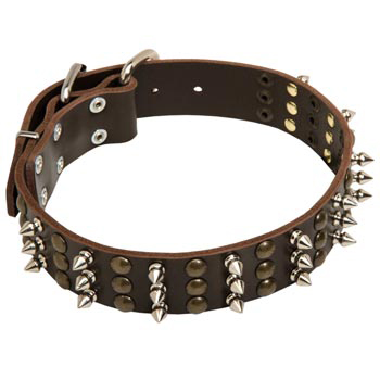 American Bulldog Handmade Leather Collar 3  Studs and Spikes Rows