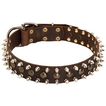 American Bulldog Leather Collar with Stylish Decoration
