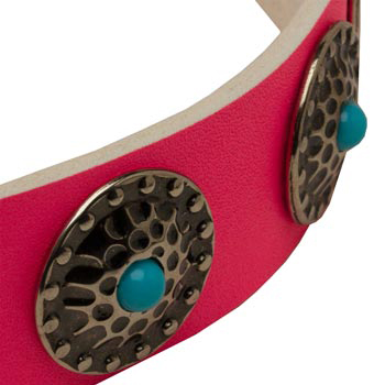 Pink American Bulldog Collar Leather with Blue Stones
