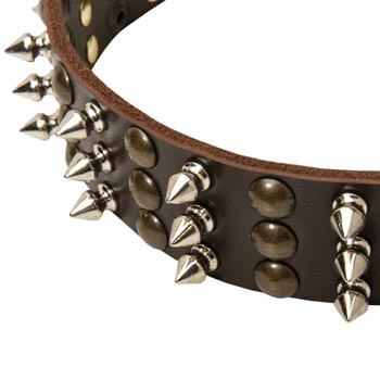 3 Rows of Spikes and Studs Decorative American Bulldog  Leather Collar