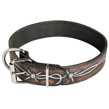 American Bulldog Collar Leather Handmade Painted in Barbed Wire for Walking Dog