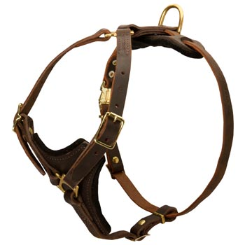 American Bulldog Harness Y-Shaped Brown Leather Easy Adjustable for Best Fit