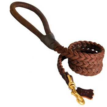 Multipurpose Leather Braided American Bulldog Leash