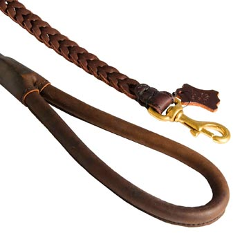 Braided Leather American Bulldog Leash with Brass Snap Hook