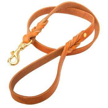 Custom Leather American Bulldog Leash Tan-Colored for Dog Walking