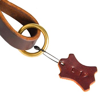 Leather Pull Tab for American Bulldog with O-ring for Leash Attachment