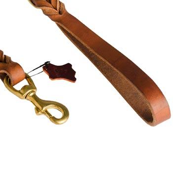 American Bulldog Leather Leash for Canine Service