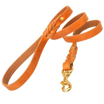 Training Tan Leather Dog Leash Skillfully Studded for American Bulldog