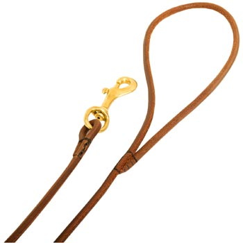 Leather American Bulldog Leash with Comfy Round Hnadle