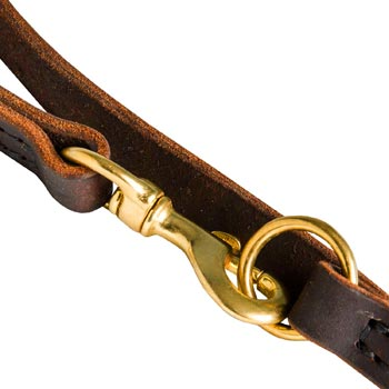 American Bulldog Leather Leash with Brass Snap Hook and O-ring