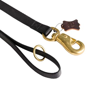 American Bulldog Nylon Leash with Brass O-ring and Snap Hook